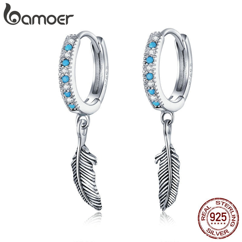 bamoer Boho Style 925 Sterling Silver Jewelry Turquoise Color Stone Feather Dangle Earrings for Women Earring with Charm SCE898