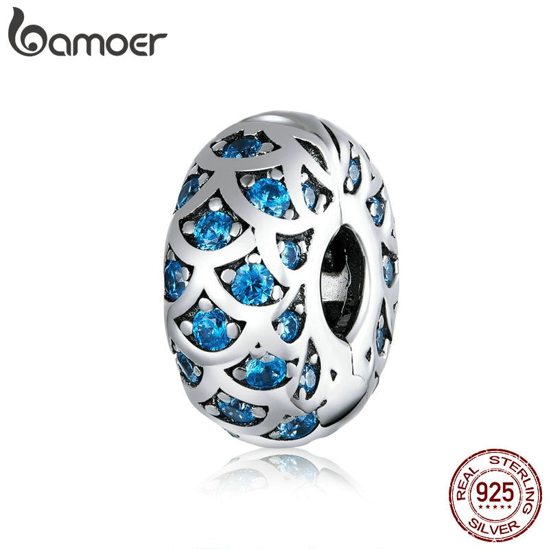 bamoer Silver 925 Jewelry Blue Clip Stopper Charm for Original Silver Snake Bracelet Jewelry Making Fine Jewelry SCC1513