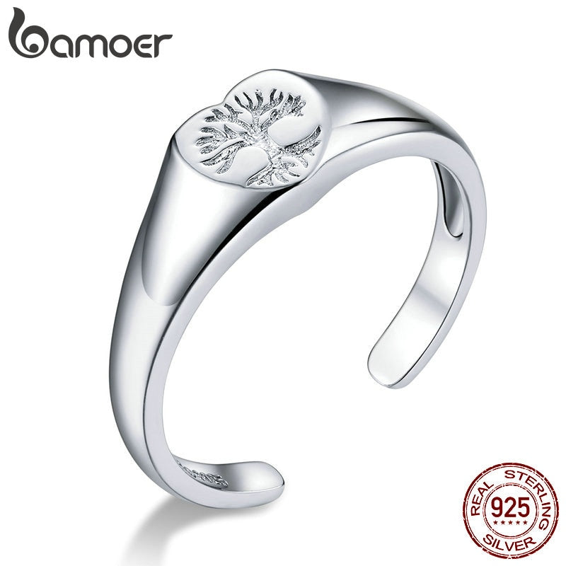 bamoer Signet Ring 925 Sterling Silver Engraved Tree of Life Open Adjustable Finger Rings for Women 2020 New Jewelry BSR122