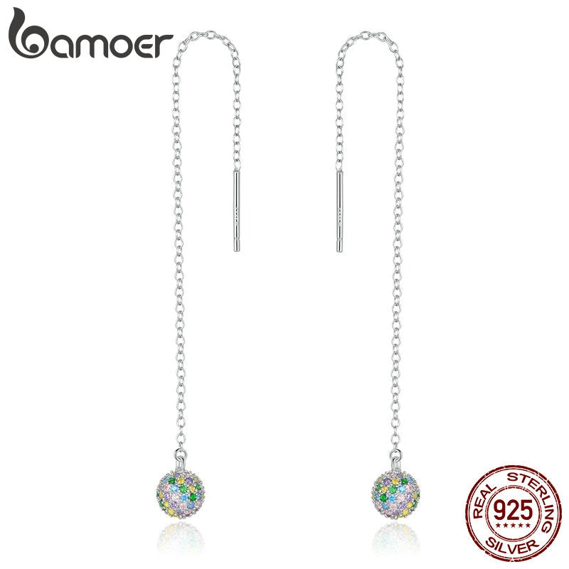 bamoer Long Chain Dangle Earrings for Women 925 Sterling Silver Colorful CZ Ball Beads Drop Earrings Girl Bijoux 2020 New BSE393