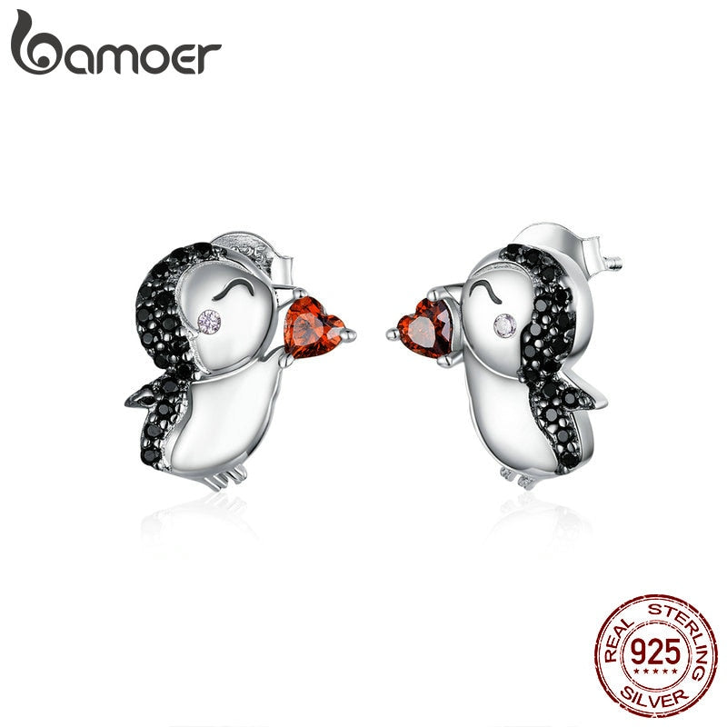bamoer Penguins Couple Stud Earrings for Women Black CZ Stone 925 Sterling Silver Animal Studs Jewelry New Brincos BSE383