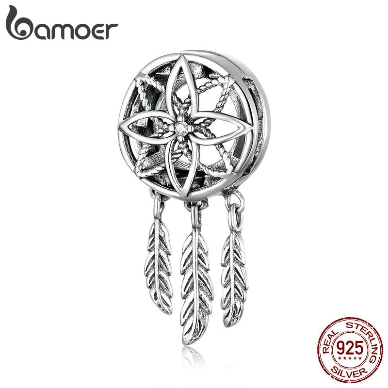 bamoer 925 Sterling Silver Bohemia Style Dream Catcher Feather Clips Charm for Reflexion Belt Bracelet for Women Jewelry SCX115