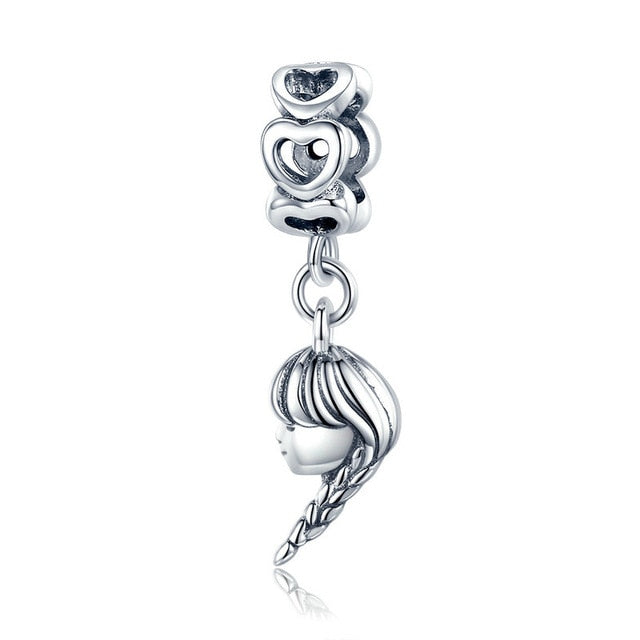 bamoer Mother and Daughter Pendant Charm for Original Silver Bracelet or Neckalce Authentic 925 Sterling Silver Jewelry BSC275
