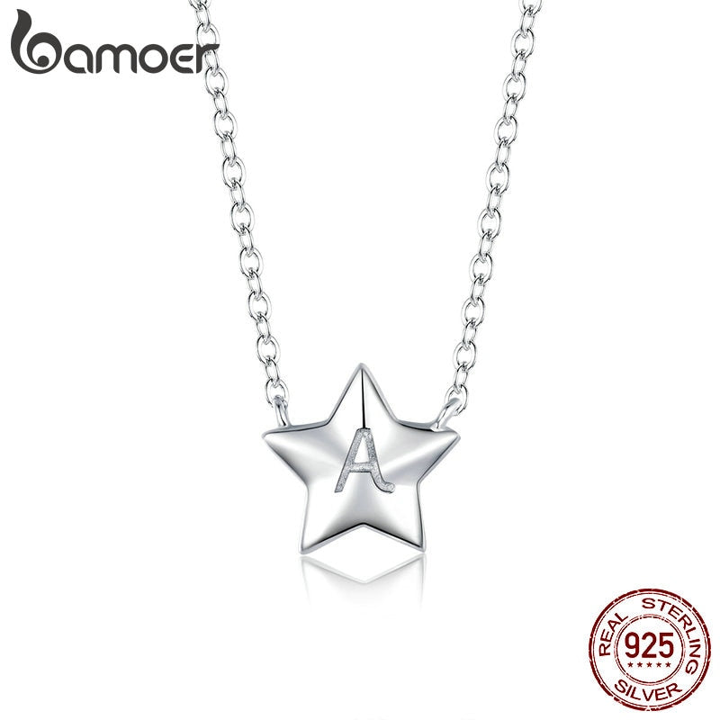 bamoer 925 Sterling Silver Minimalist Alphabet A Simple Star Necklace for Women Anti-allergy Jewelry Gift for Girl BSN181