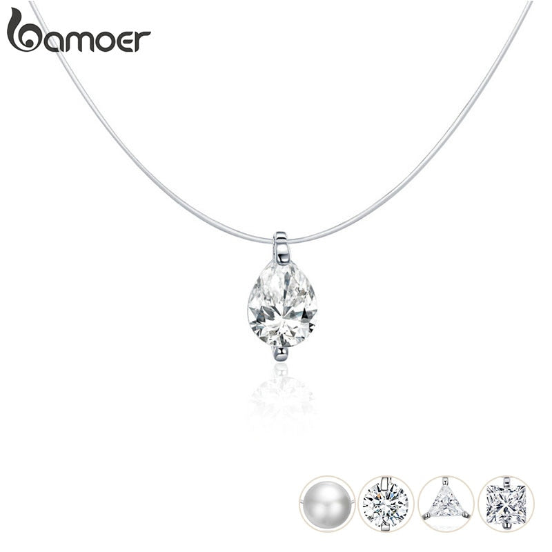 bamoer 925 Sterling Silver Invisible Choker Necklace for Women Waterdrop Square Triangle Pendant Neckalce Female Bijoux SCN332-D