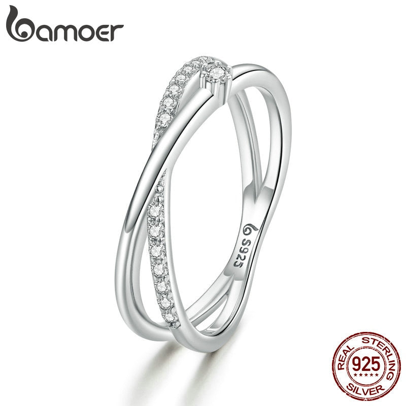 bamoer Silver Rings Intertwined Lines Finger Rings for Women 925 Sterling Silver Fine Jewelry 2020 Plated platinum BSR138