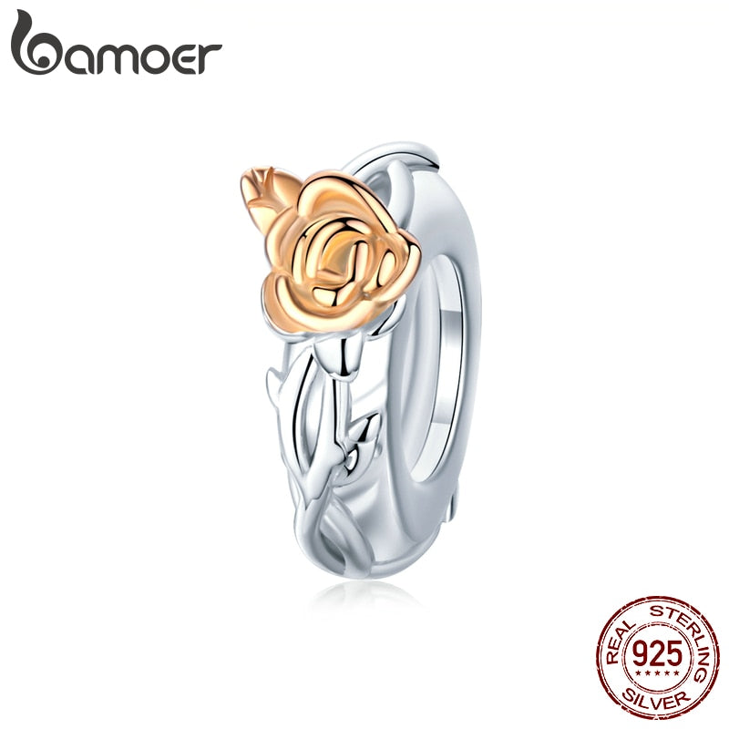 bamoer Authentic 925 Sterling Silver Rose Flower Spacer Charms for 3mm Snake Bracelet & Bangle DIY Jewelry 2020 New BSC146