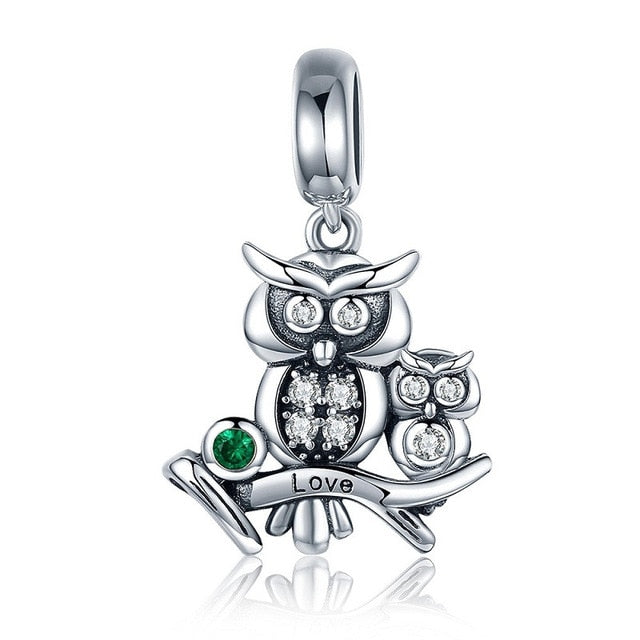 bamoer Owl Mom and Baby Metal Charm 925 Sterling Silver Animal Guardian Charm fit Original Bracelet Jewelry Accessories BSC238