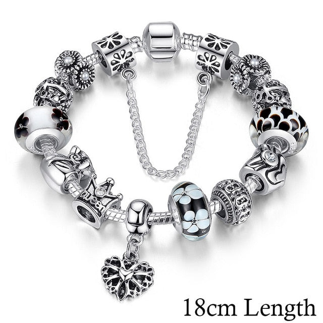 BAMOER Queen Jewelry Silver Plated Charms Bracelet & Bangles With Queen Crown Beads Bracelet for Women PA1823