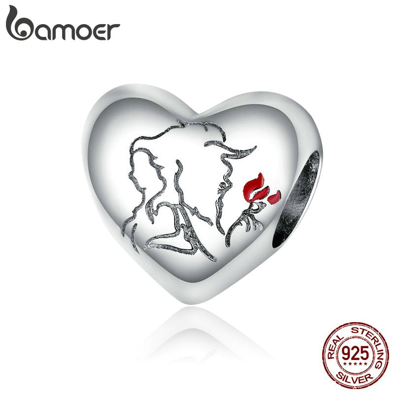 bamoer Love Sketch Metal Beads Women Jewelry Making 925 Sterling Silver Plated platinum Charm fit Original Bracelet DIY BSC321