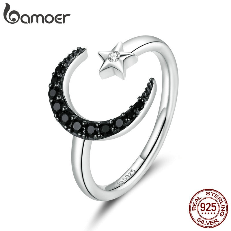 bamoer Authentic 925 Sterling Silver Mysterious Star & Moon Finger Rings for Women Adjustable Free Size Fine Jewelry BSR137