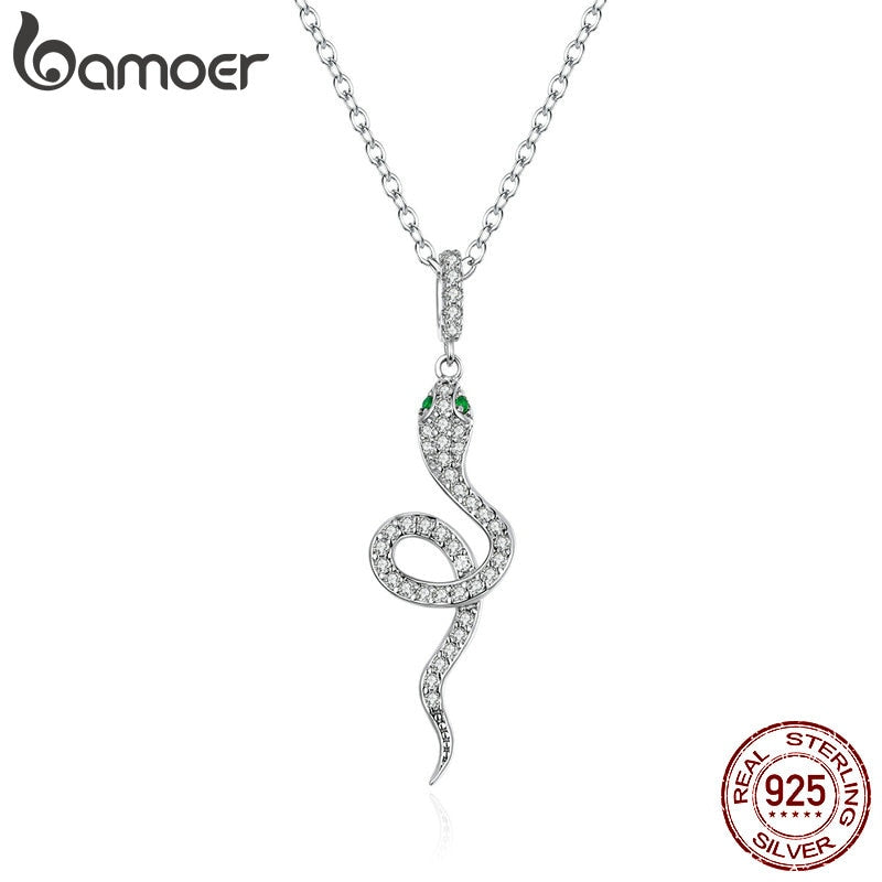 bamoer 925 Sterling Silver Radiant Clear CZ Snake Heart Pendant Necklace for Women Family Gifts Fine Jewelry SCN409