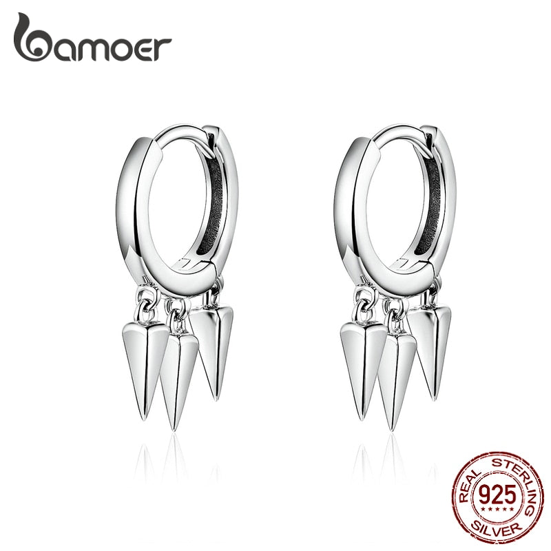 bamoer Punk Earrings for Women and Men 925 Sterling Silver Unique Design Stylish Unisex Jewelry Pendientes SCE779