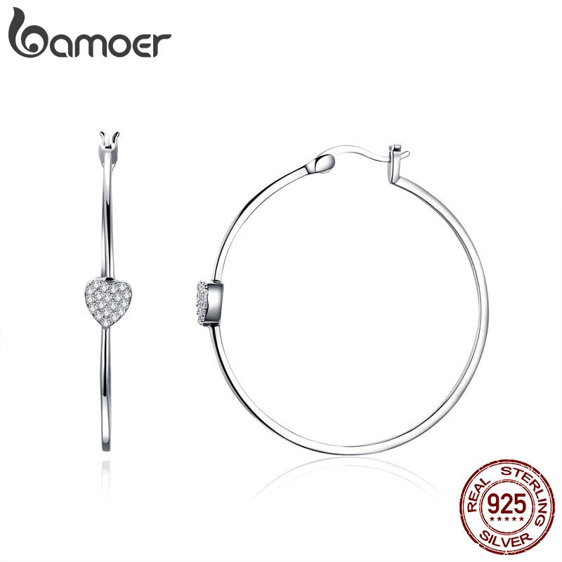 BAMOER Authentic 925 Sterling Silver Big Circle Love Heart Shape Clear CZ Drop Earrings for Women Wedding Silver Jewelry SCE518