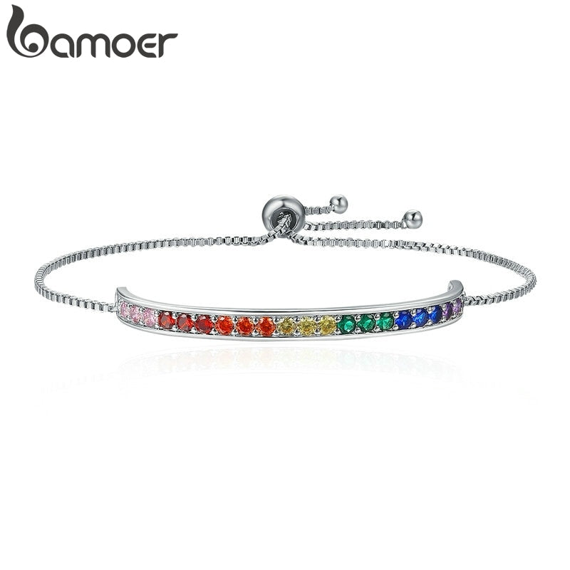 BAMOER New Collection Silver Color Rainbow Crystal Stamp Chain Link Bracelet Lace up Bracelets for Women Jewelry YIB036
