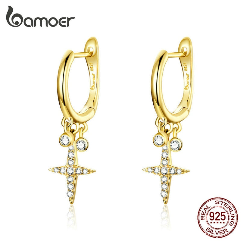 bamoer Gold Color Cross Drop Earrings with Charm Women Fashion Jewelry 925 Sterling Silver Brincos Gifts Accessories BSE230