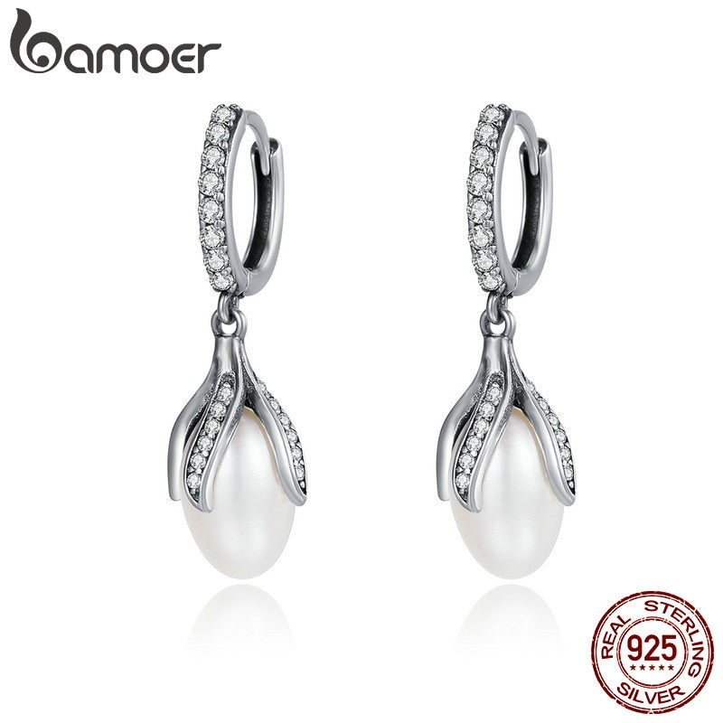 BAMOER Authentic 925 Sterling Silver Blooming Flower Petal Freshwater Pearl Drop Earrings for Women Luxury Silver Jewelry SCE259