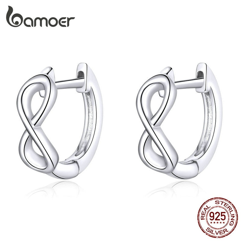 bamoer Geometric Infinity Love Hoop Earrings for Women Minimalist Silver 925 Jewelry Daily Accessoreis 2019 Female Bijoux SCE743