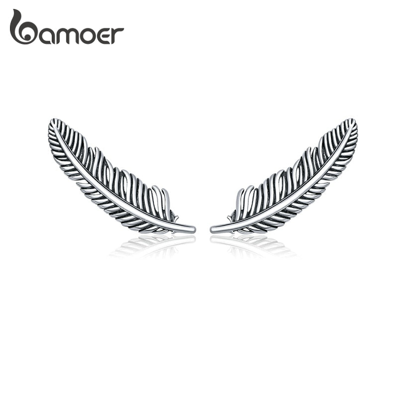 bamoer Authentic 925 Sterling Silver Retro Feather Stud Earrings for Women Real Silver Ear Studs Fine Jewelry Brincos SCE865