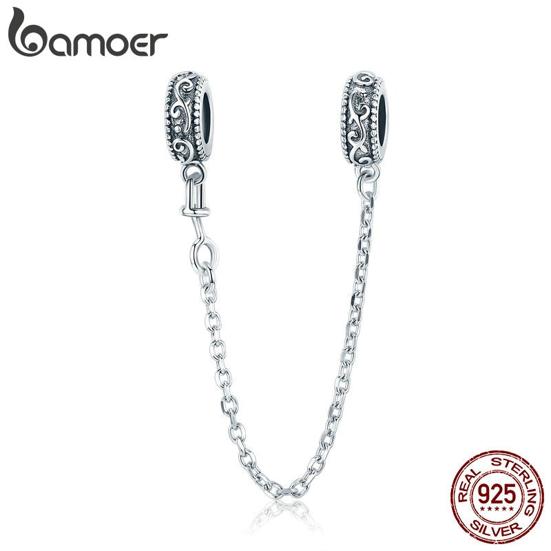 bamoer 925 Sterling Silver Vintage Vine Safety Chain Charm for Original Silver Bracelet Charms with Silicone Stopper SCC1546