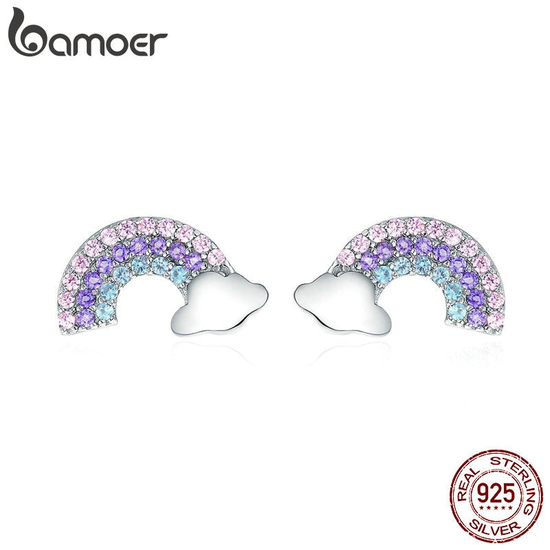 BAMOER New Arrival 925 Sterling Silver Colorful Zircon Rainbow Exquisite Stud Earrings Women Trendy Party Earring Jewelry SCE578