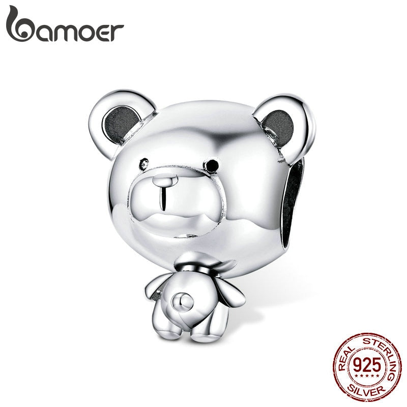 bamoer Bear Toy Beads for Women Jewelry Making 925 Sterling Silver Fashion DIY Jewelry Charm for Original Bracelet 2020 SCC1502