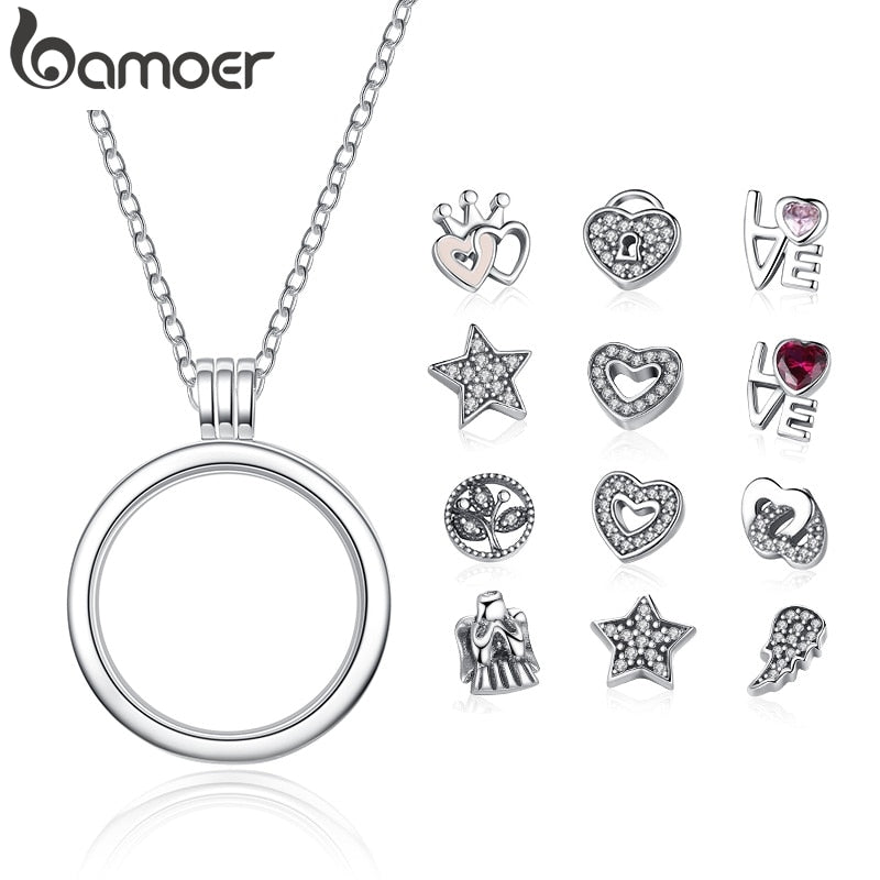 BAMOER Genuine 925 Sterling Silver Medium Petite Memories Floating Locket Necklaces & Pendants Sterling Silver Jewelry PSF001