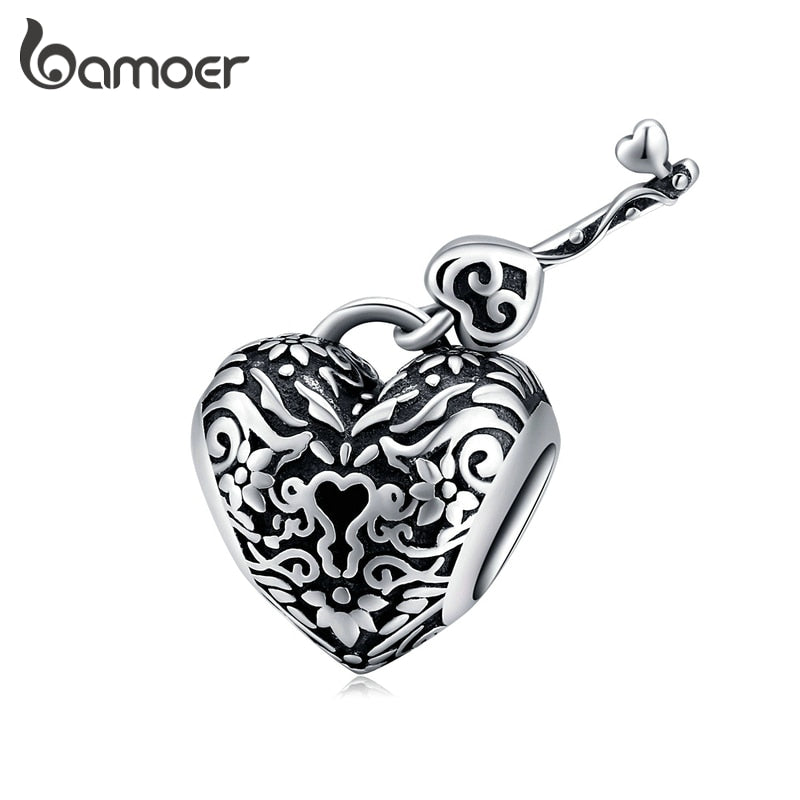bamoer Heart Lock and Key Charm for Original Bracelet 925 Sterling Silver Vintage Style Charm Women Jewelry Making SCC1447