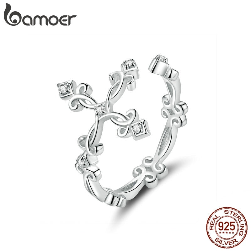 bamoer Retro Pattern Cross Adjustable Finger Ring for Women 925 Sterling Silver Vintage Flower Rings Silver Bijoux BSR041