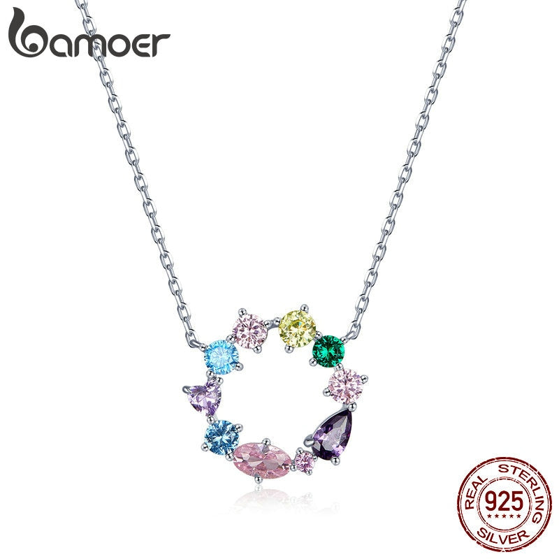 bamoer Wreath Necklace for Girl 925 Sterling Silver Jewelry Colorful AAA CZ Jewelry Original Design Gift for Women BSN178