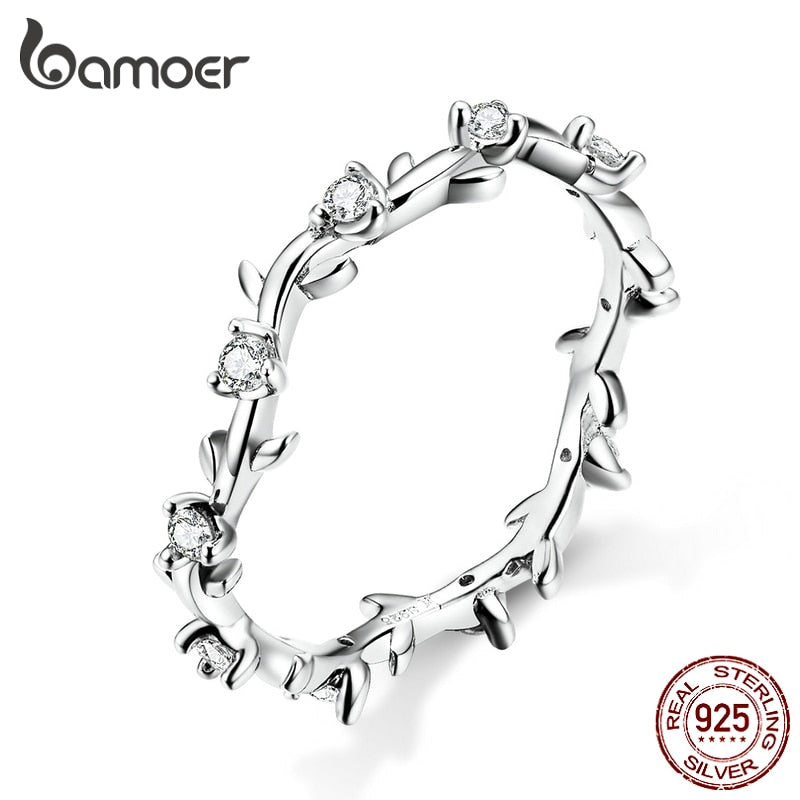 bamoer Stackable Finger Rings for Women 925 Sterling Silver Flower Branch Vine Ring CZ Statement Jewelry Female Bague SCR625
