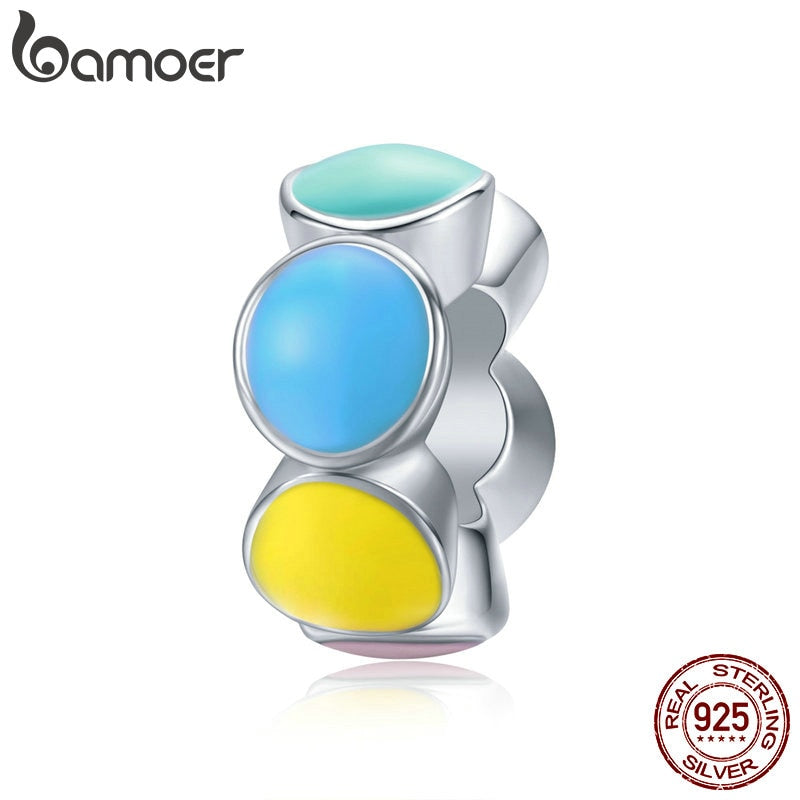 bamoer Silver 925 Jewelry Rainbow Bubble Design Vine Pattern Charm fit Original Brand Bracelet Sterling Silver Jewelry SCC1555