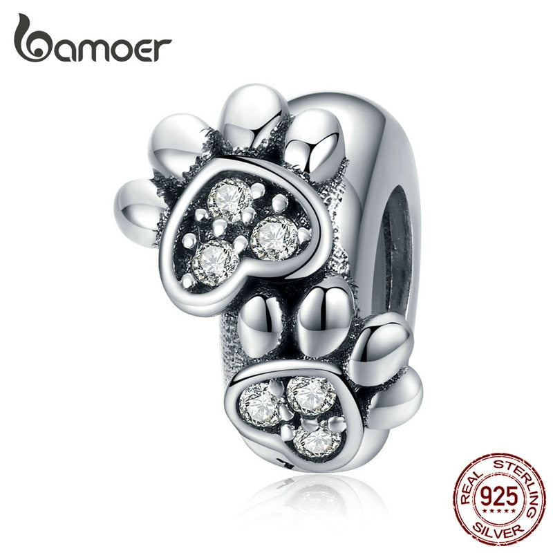 bamoer Pet's Footprint Stopper Charm for Women Original Silver 925 Bracelet DIY Jewelry Making Charms with Silicone SCC1312
