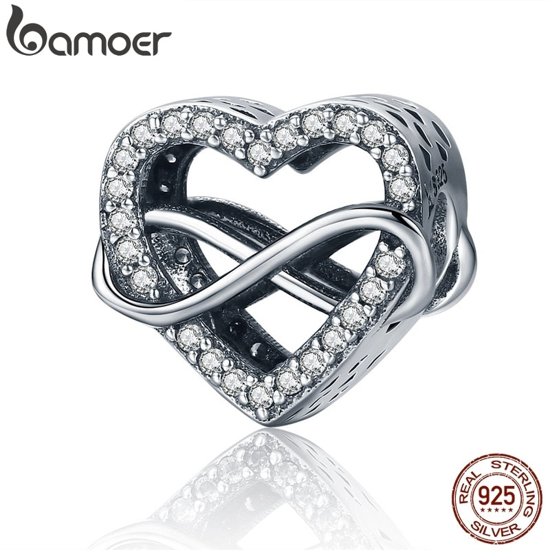 BAMOER Authentic 100% 925 Sterling Silver Endless Love Infinity Love Charms Beads fit Women Bracelets Jewelry Accessories SCC432