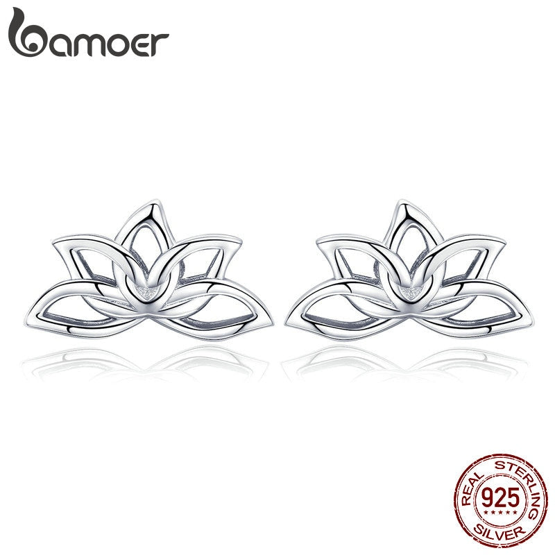 BAMOER New Arrival 925 Sterling Silver Lotus Flower Stud Earrings for Women Elegant Lotus Earrings Silver Jewelry BSE024