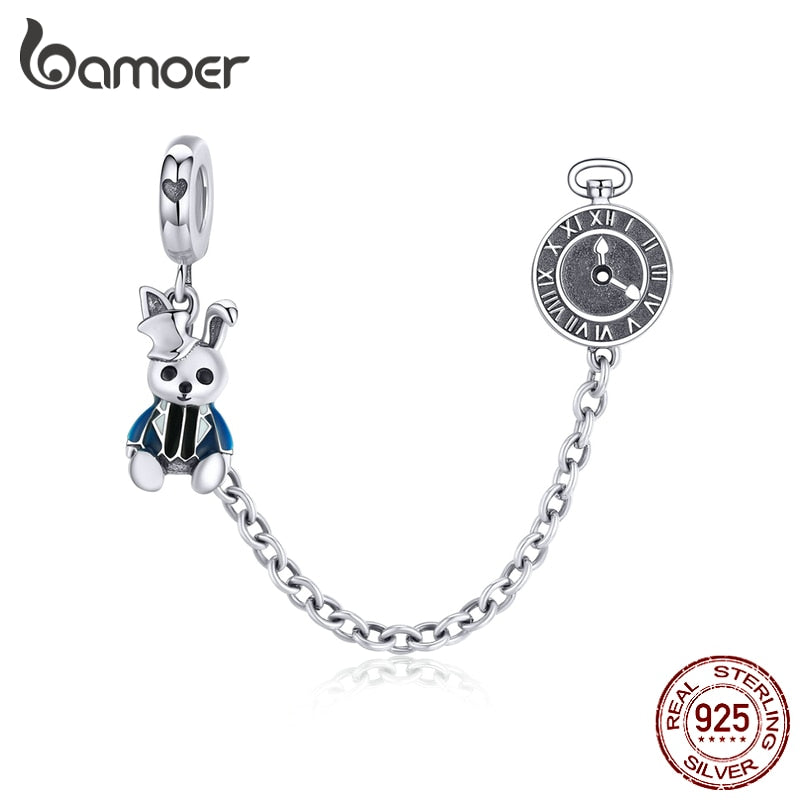 bamoer Magic Forest Adventure Collection Magical Rabbit and Clock Long Charm fit Original Bracelet not safety chain SCC1443