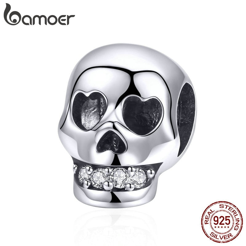 BAMOER 925 Sterling Silver Christmas Gift Skull Head Beads Charm fit Charm Bracelet Halloween Jewelry Making Accessories DIY