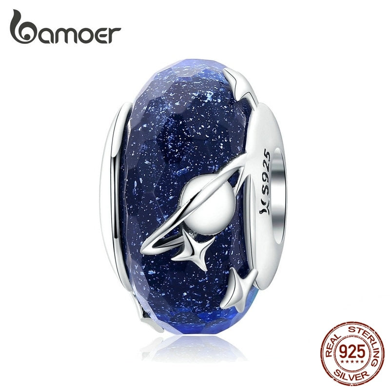 bamoer Nighty Sky Murano Glass Beads for Women 925 Sterling Silver Galaxy Star Charm fit Original Silver Snake Bracelet SCC1284