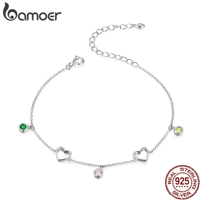 bamoer Sterling Silver 925 Tiny Heart Colorful CZ Bracelets for Women Chain Link 21cm Girl Birthday Gifts Fine Jewelry SCB180