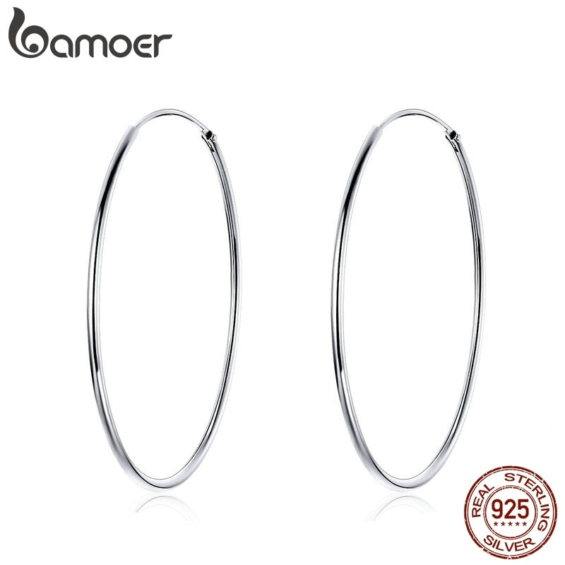 BAMOER 2019 Big Hoop Earrings for Women Sterling Silver 925 Jewelry Female Fashion Woman Earrings 39mm Fine Jewelry SCE598