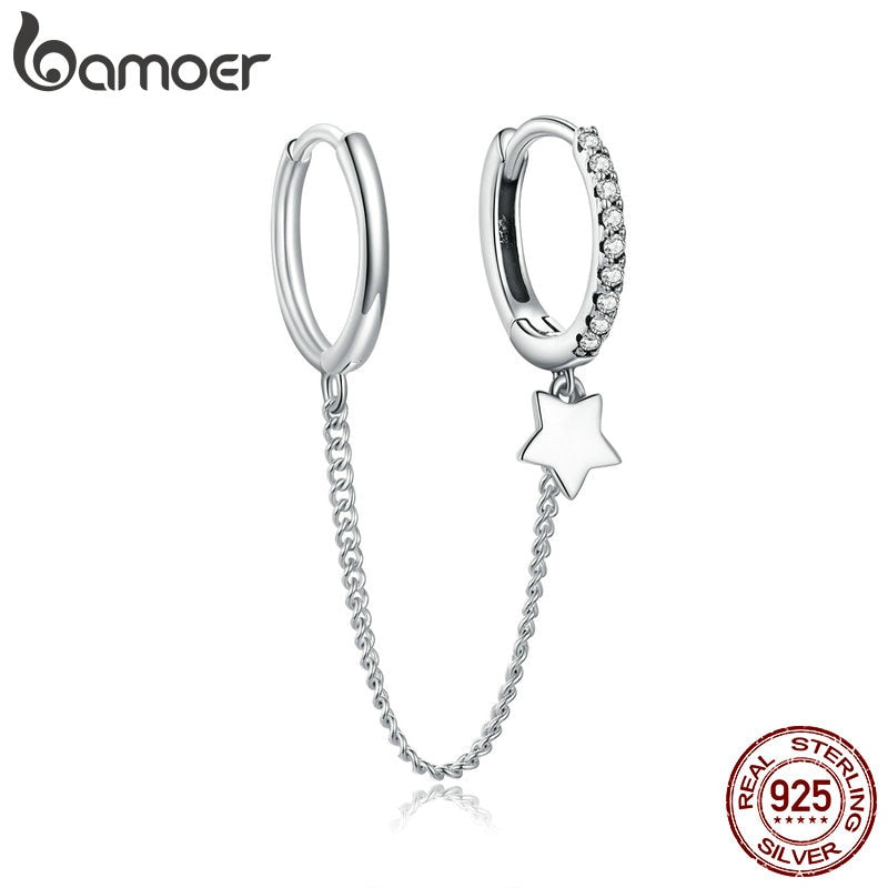 bamoer Genuine 925 Sterling Silver Star Whisperer  Earrings for Women Wedding Statement Elegant Pearl Earing 2020 New SCE914