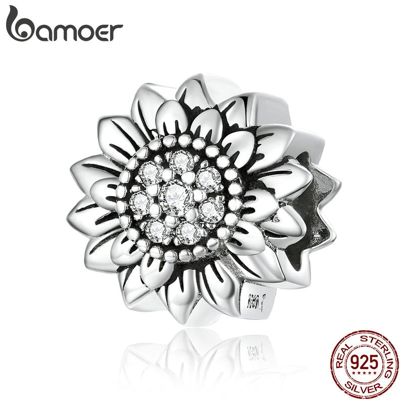 bamoer Sunflower Metal Beads for Women Jewelry Making 925 Sterling Silver Charm fit Original Snake Bracelet or Bangle SCC1507