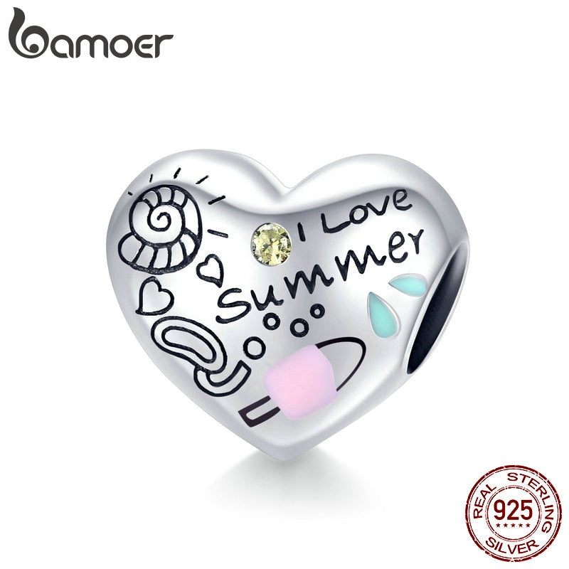 bamoer Summer Holiday Series Heart Metal Beads 925 Sterling Silver Engrave Heart-shape Charm for Bracelet & Bangle SCC1529