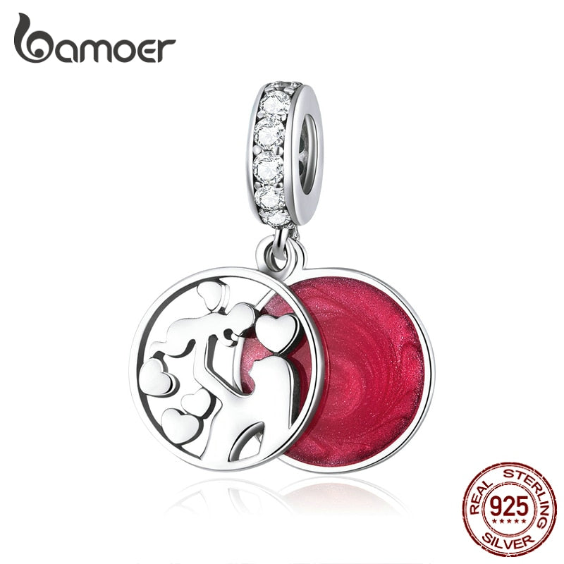 bamoer 925 Sterling Silver Double Layers Enamel Pendant Charm for Original Silver Snake Bracelet or Necklace DIY Bijoux SCC1460