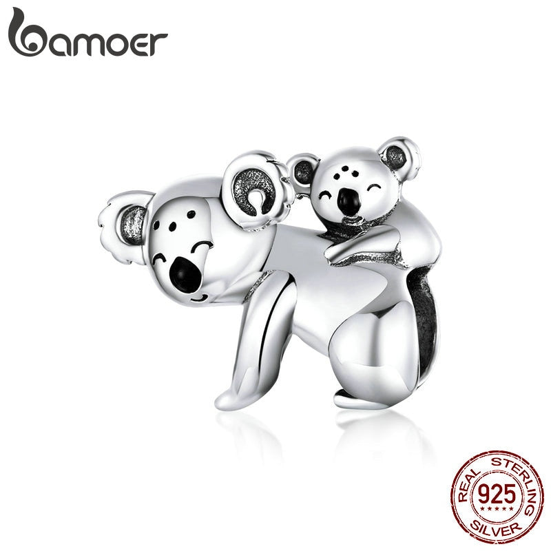 bamoer Koala Baby and Mom Metal Beads for Women Jewelry Making 925 Sterling Silver Australia Protect Animal Silver Charm BSC260