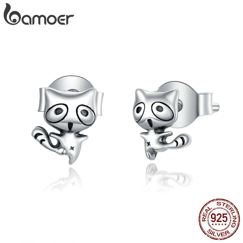 bamoer 925 Sterling Silver Mocking Animal Raccoon Stud Earrings for Women Hypoallergenic Jewelry Gifts for Girl 2020 SCE907