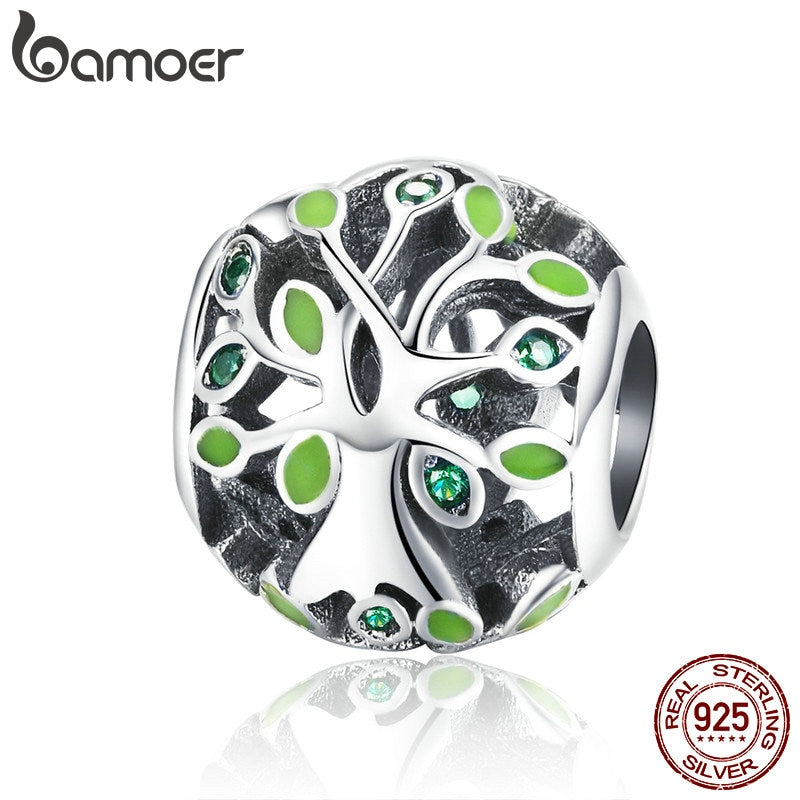 BAMOER Authentic 925 Sterling Silver Family Tree of Life Beads Tree Leaves Charms Fit Charm Bracelets DIY Jewelry SCC994