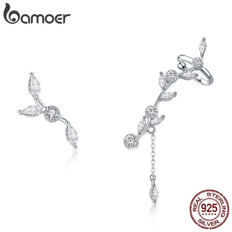 BAMOER Genuine 925 Sterling Silver Plum Blossoming Flower Branch Stud Earrings for Women Clear CZ Silver Jewelry SCE429