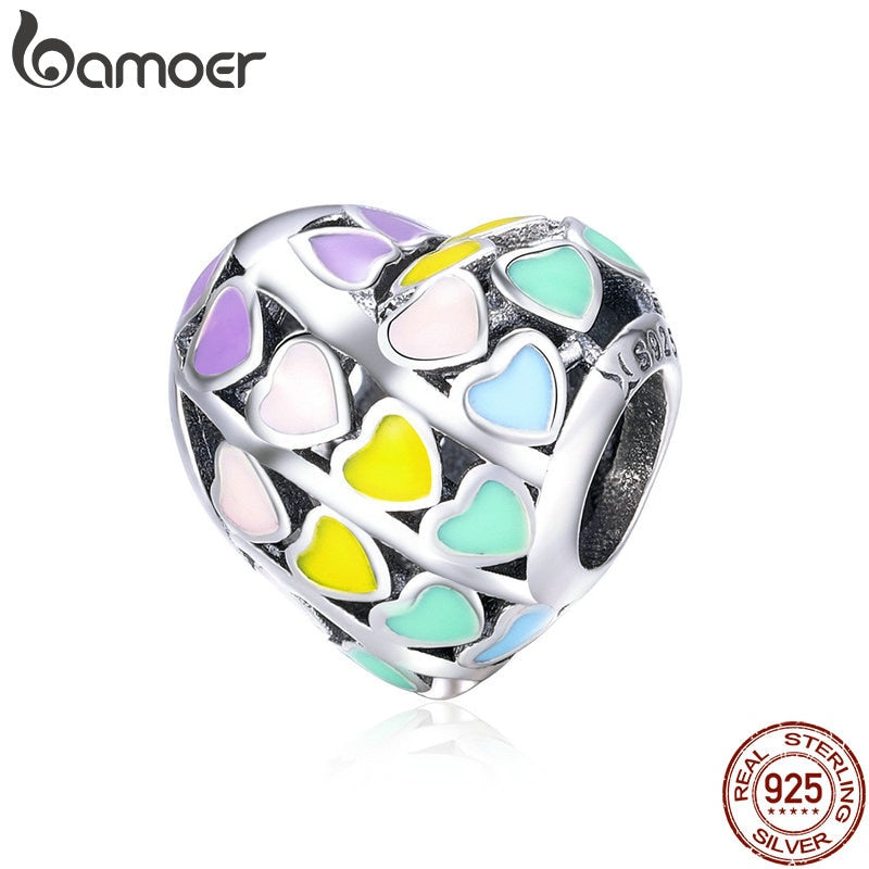 BAMOER Romantic 925 Sterling Silver Rainbow Heart Color Enamel Charms Beads fit Original Bracelets DIY Jewelry Making SCC902