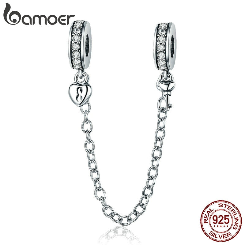 BAMOER Authentic 925 Sterling Silver Stackable Heart Love Heart Dangle Safety Chain Charm fit Charm Bracelet DIY Jewelry SCC606